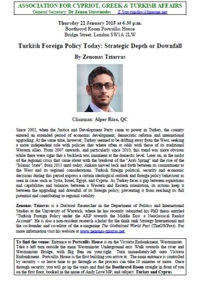 Invitation London Talk Tziarras