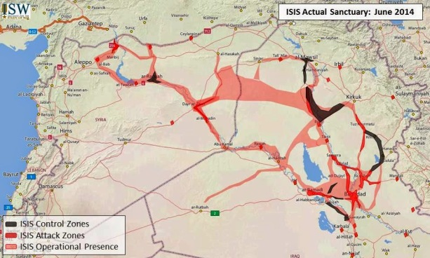 Map no. 1: ISIS presence in Iraq & Syria, June 2014 (Source: Institute for the Study of War)